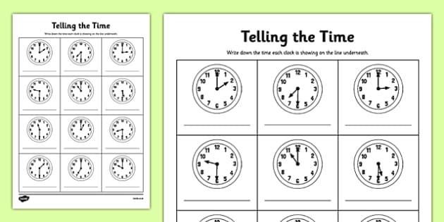 O'clock And Half Past Times Worksheet   Worksheet
