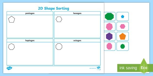 2d Shape Sorting Worksheet   Worksheet