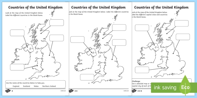 Differentiated Countries Of The United Kingdom Labeling Worksheet