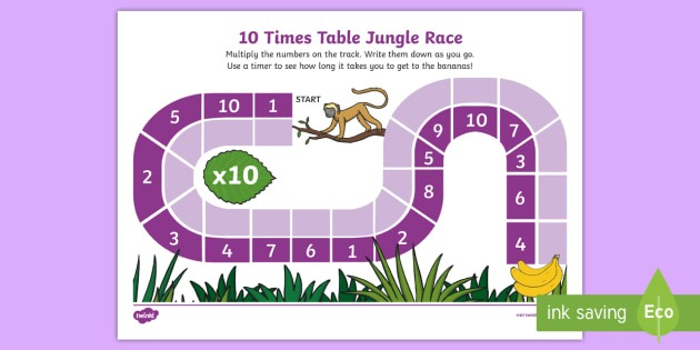 10 Times Table Jungle Race Worksheet   Worksheet
