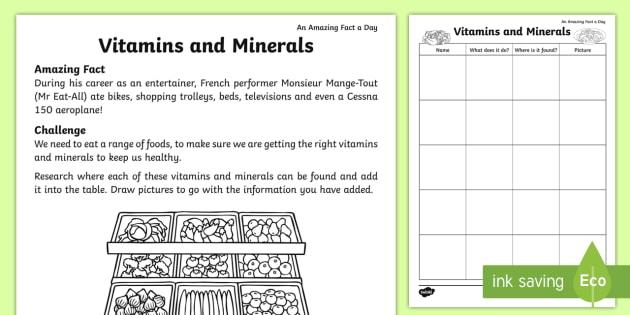 Vitamins And Minerals Worksheet   Worksheet