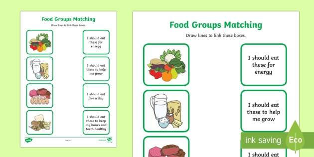 Food Group Matching Activity Worksheet