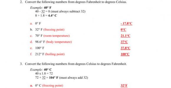 Temperature Conversion Worksheet Answers Key