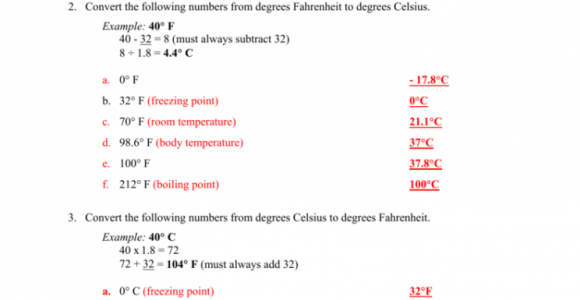 Temperature And Pressure Conversion Worksheet Answers