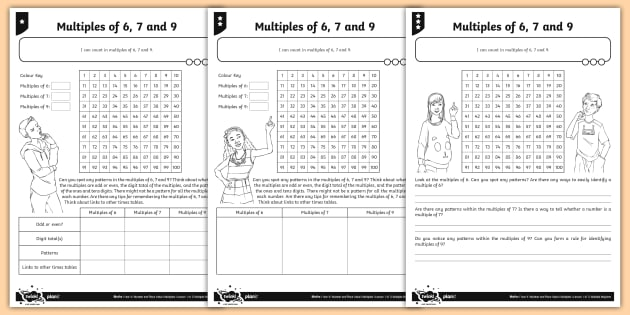 New   Multiples Of 6, 7 And 9 Differentiated Worksheets