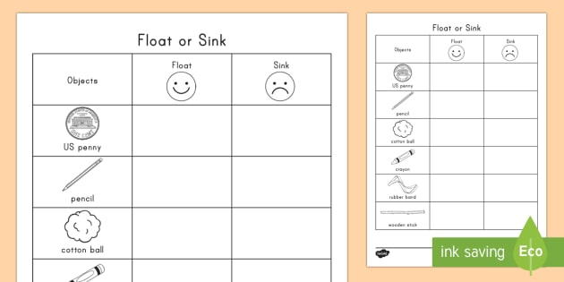 Float Or Sink Worksheet   Worksheet