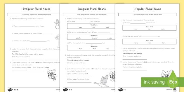 Irregular Plural Nouns Worksheet   Worksheets
