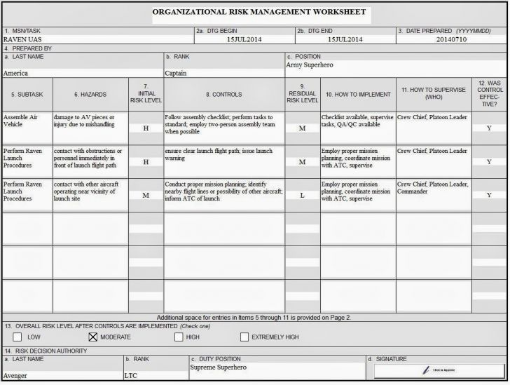 Army Risk Management Worksheet