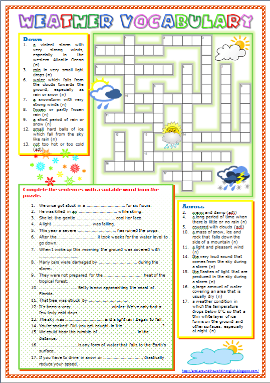 Around The World In English  Weather Vocabulary (worksheet)