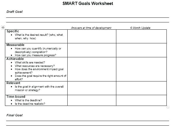 Worksheet Template Word Employee Goal Setting Template Goal