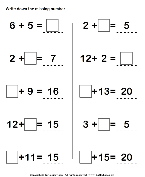Write Missing Numbers In Addition Sentence Worksheet