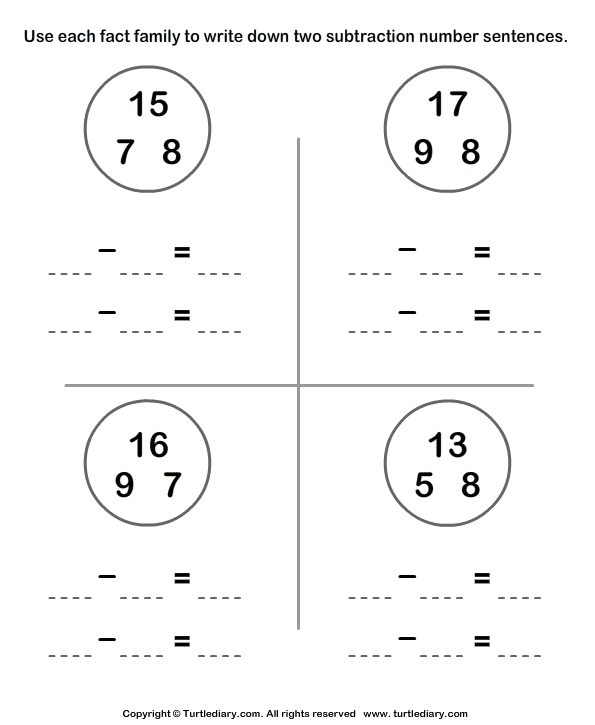 Write Subtraction Sentences Using Given Numbers Worksheet