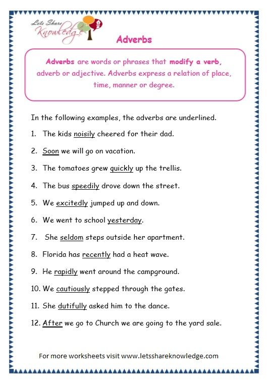 Page 2 Adverbs Worksheet