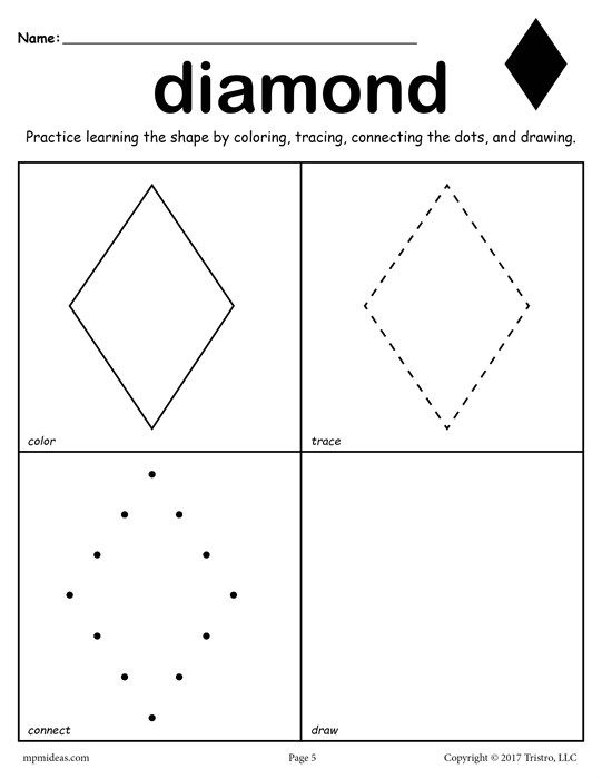 Free Diamond Shape Worksheet  Color, Trace, Connect, & Draw