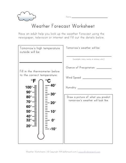 Grade 2 Science  Weather Forecast Worksheet