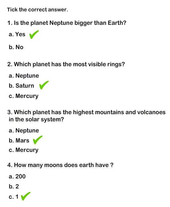Solar System Worksheet 5
