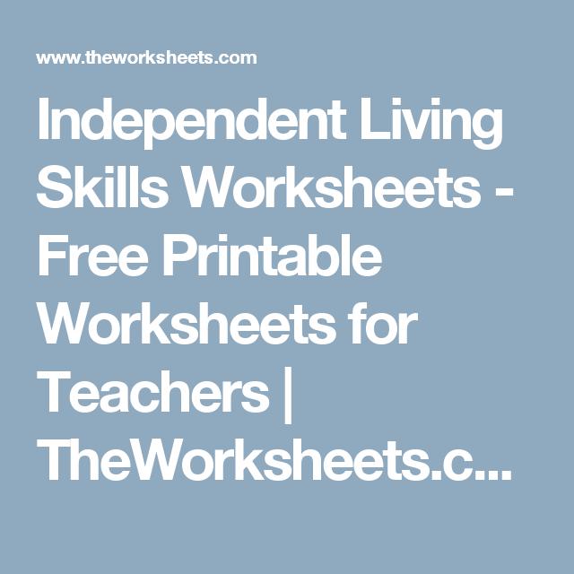 Independent Living Skills Worksheets