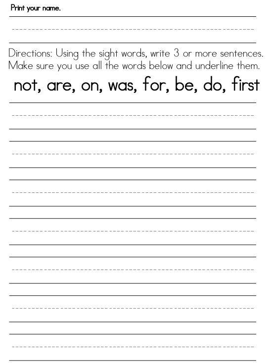 Worksheets For 1st Graders