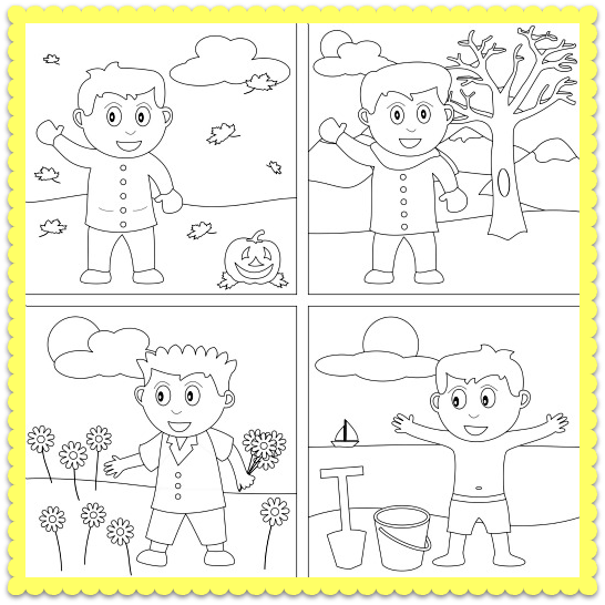 A Four Seasons Coloring Worksheet! Let's Color The Four Seasons