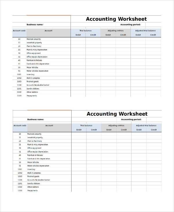 Sample Accounting Worksheet Template