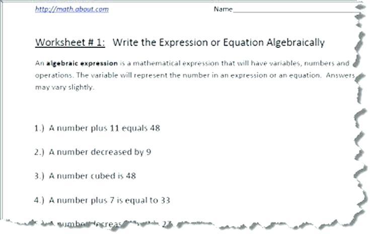Algebra Worksheets Writing Algebraic Expressions Worksheet Unique