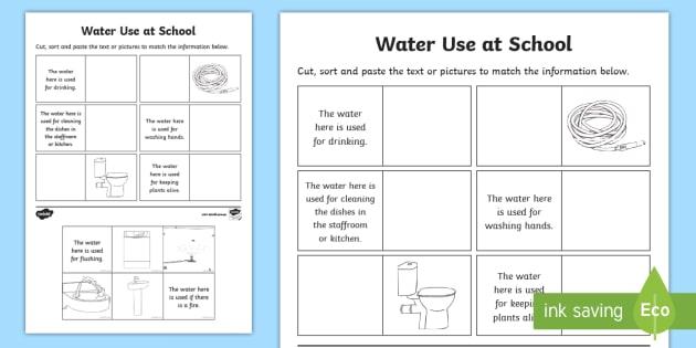 Water Use At School Worksheet