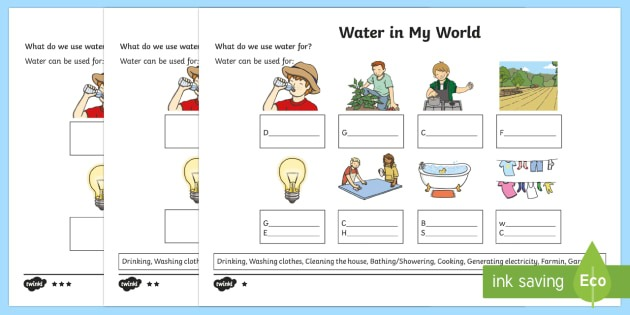 Water In My World Differentiated Worksheet   Worksheets