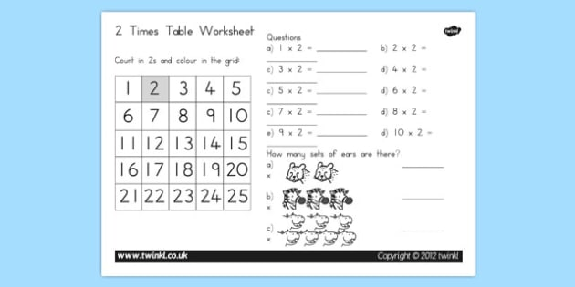 Two Times Table Worksheet