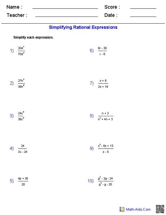 Simplifying Rational Expressions Worksheets