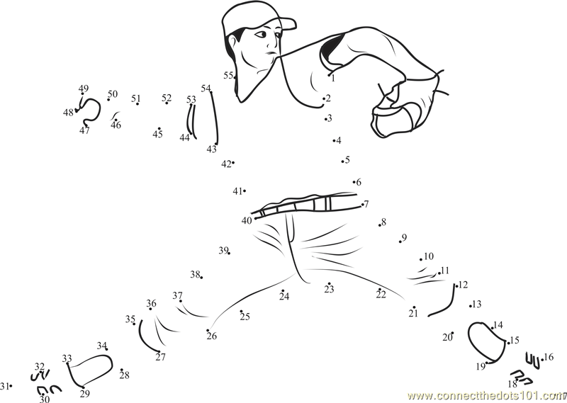 Baseball Connect The Dots Worksheets Printable For Kids