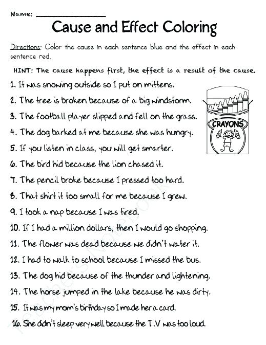 Cause Effect Grade Reading Comprehension Worksheets And 5th