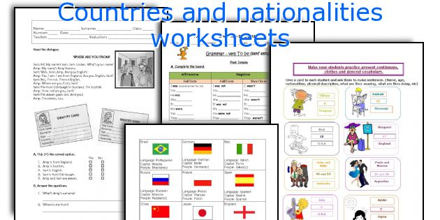 Countries And Nationalities Worksheets