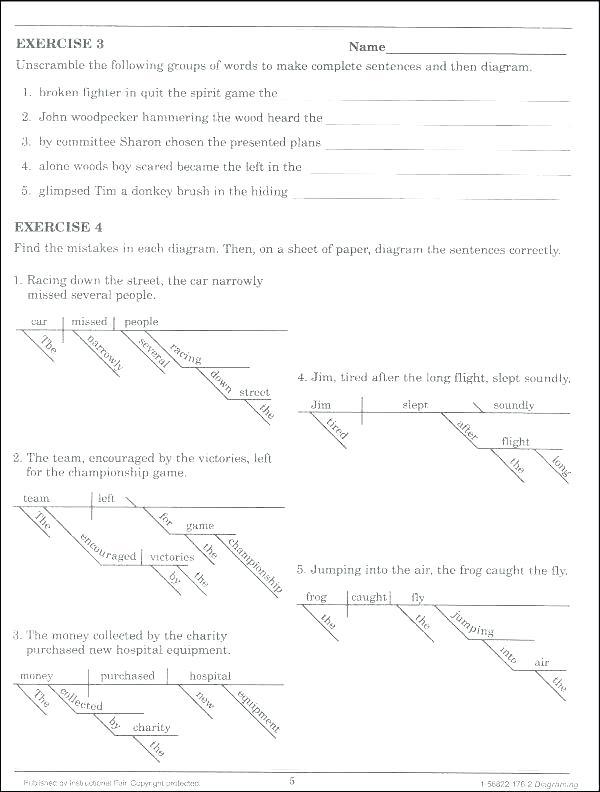Diagramming Sentences Worksheets Pdf Diagramming Sentences