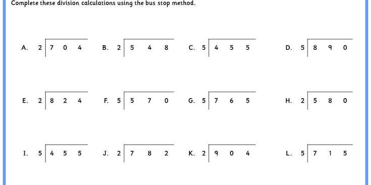 Division Bus Stop Method Worksheets