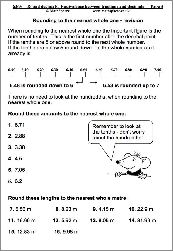 Rounding Decimals Maths Worksheet