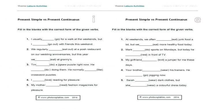 Free Esl Worksheets For Middle School Present Continuous Awesome