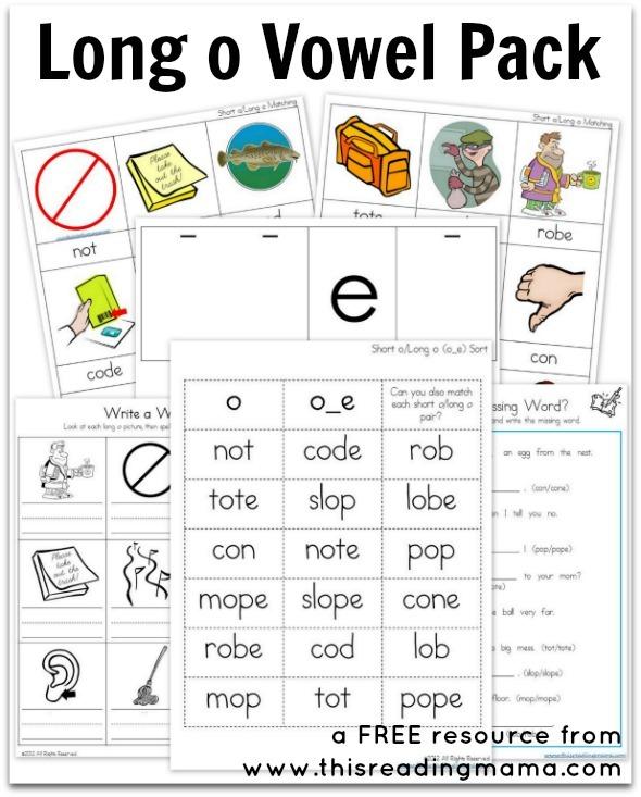 Long O Vowel Pack {free Printable}