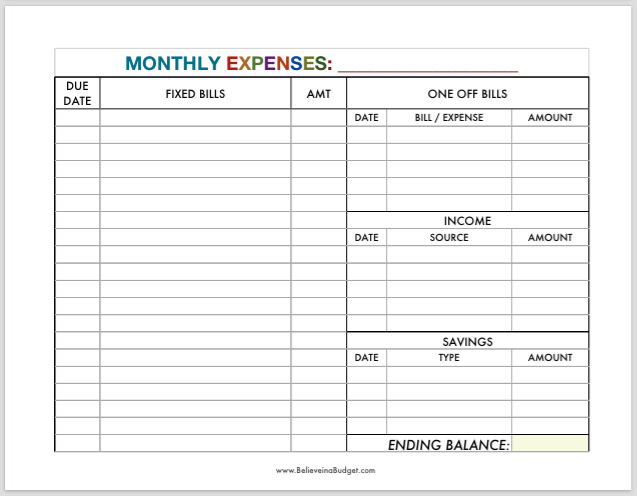 Printable Monthly Expenses Worksheet