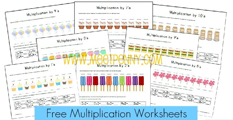 Free Multiplication Worksheets & Fact Cards {with Visual Cues
