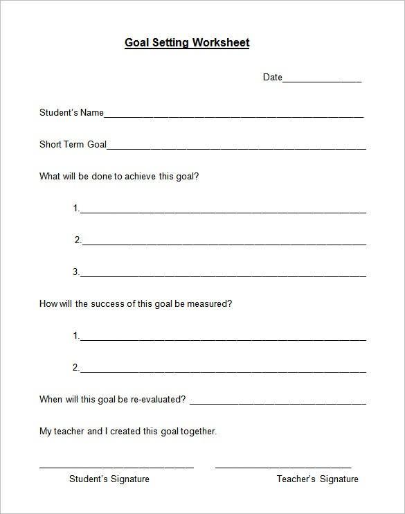 Goal Setting Worksheet Template