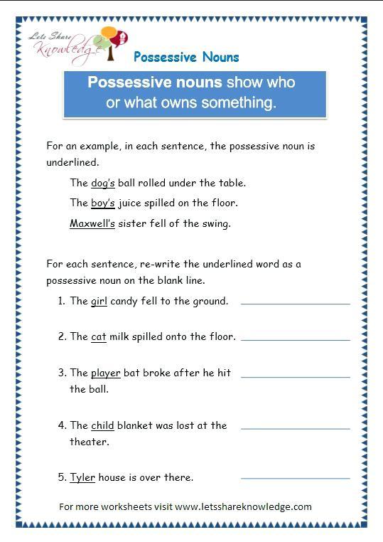 Grade 3 Grammar Topic 8 Possessive Nouns Worksheets Lets Share