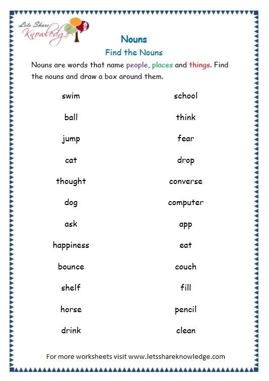 Grade 3 Grammar Topic 6  Nouns Worksheets