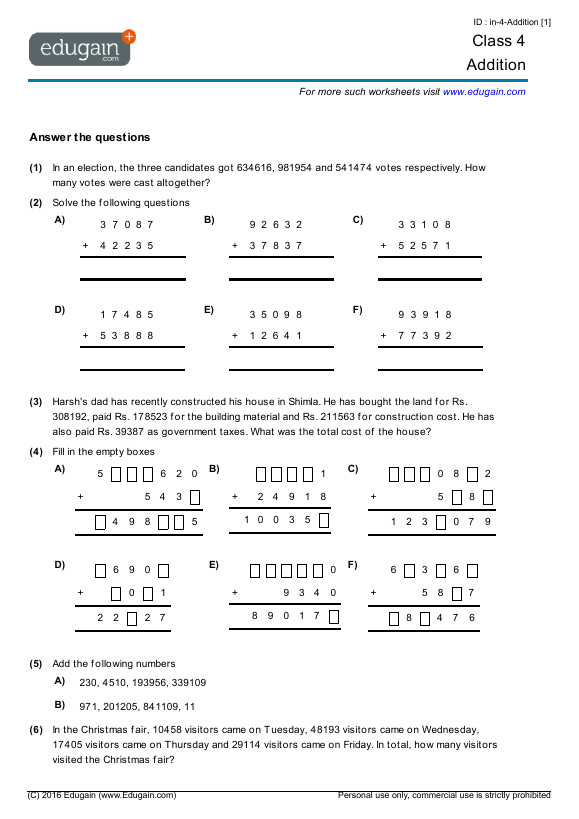 Grade 4 Math Worksheets And Problems  Addition