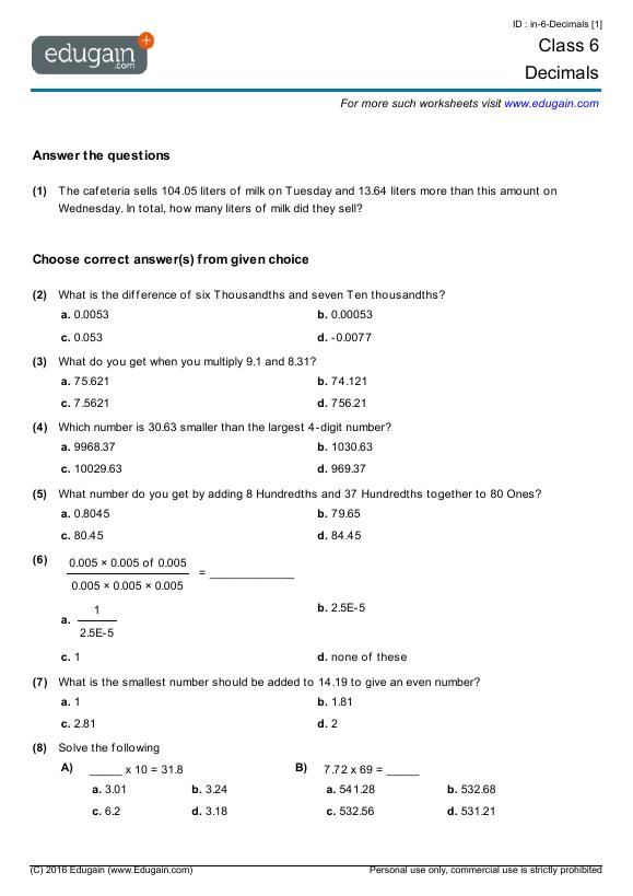 Grade 6 Math Worksheets And Problems  Decimals