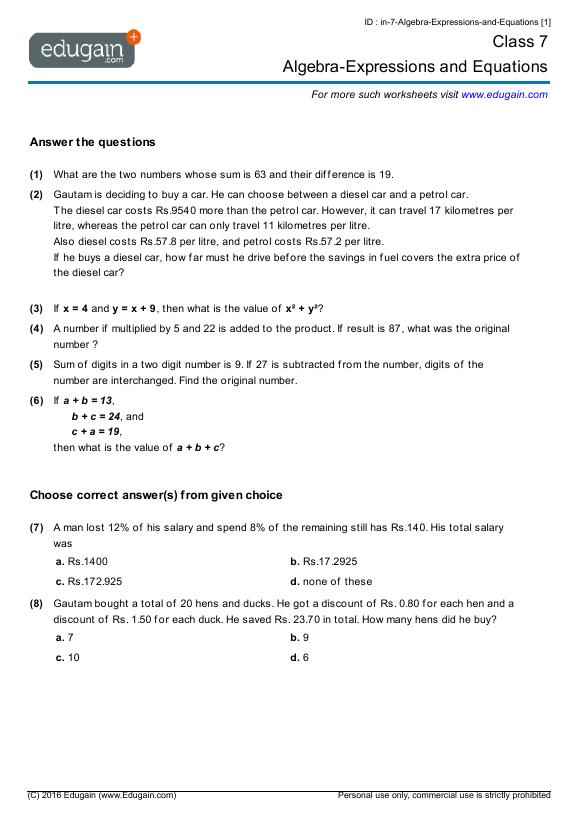 Grade 7 Math Worksheets And Problems  Algebra