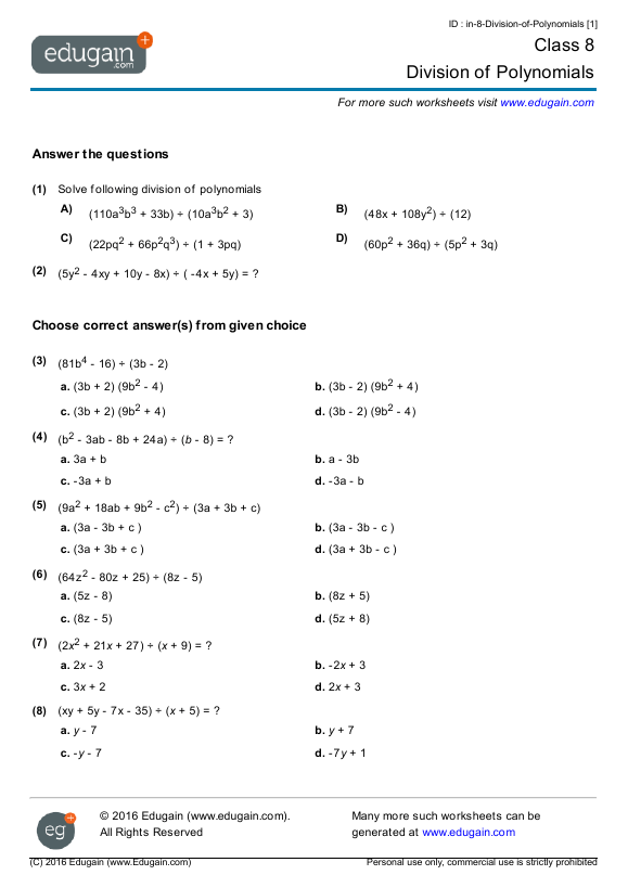 Grade 8 Math Worksheets And Problems  Division Of Polynomials