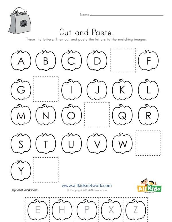 halloween cut and paste missing letters worksheet worksheets samples. Black Bedroom Furniture Sets. Home Design Ideas