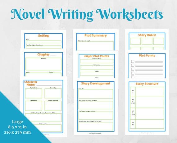 Items Similar To Novel Writing Worksheets