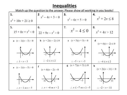 Quadratic Inequalities Spot The Mist Quadratic Inequalities