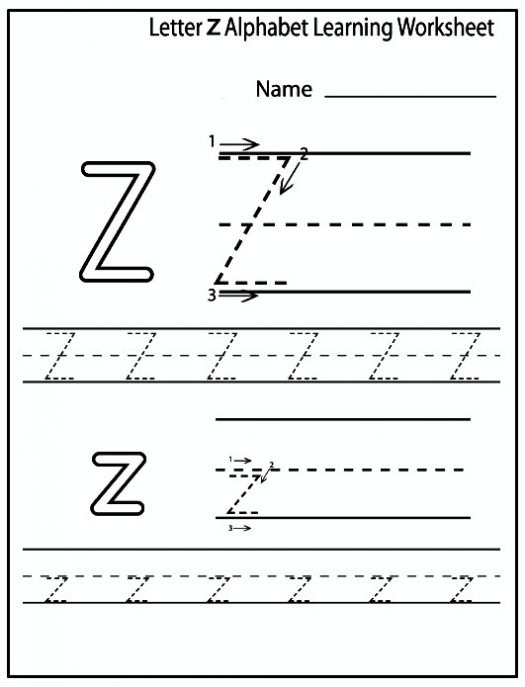Printable Letter Z Worksheets For Preschool & Kindergarten